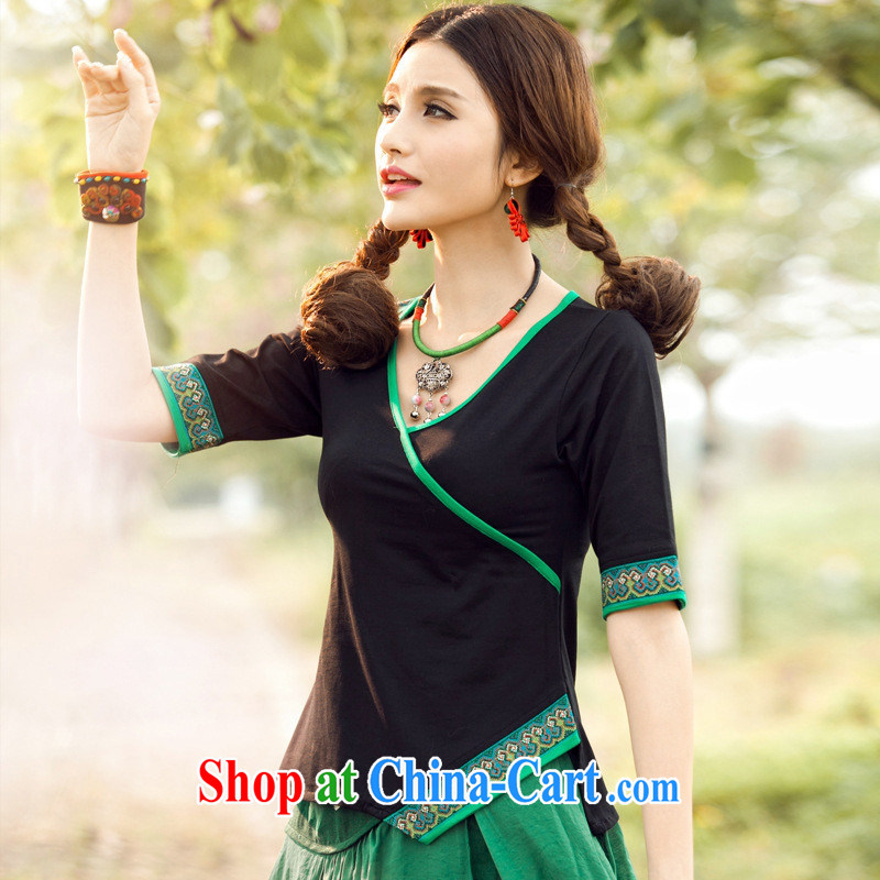 Black butterfly ladies' 2015 summer new ethnic wind embroidered V collar cuff T shirts girls cotton 7883 green 3 XL