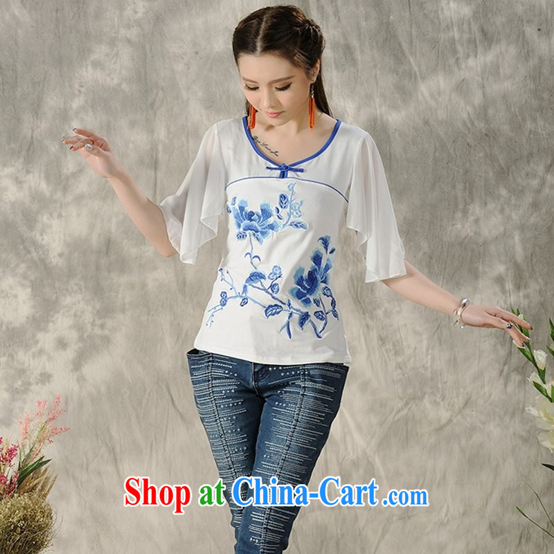 Black butterfly larger women summer new ethnic wind embroidered stitching fly cuff short sleeves shirt T A 496 white 4XL
