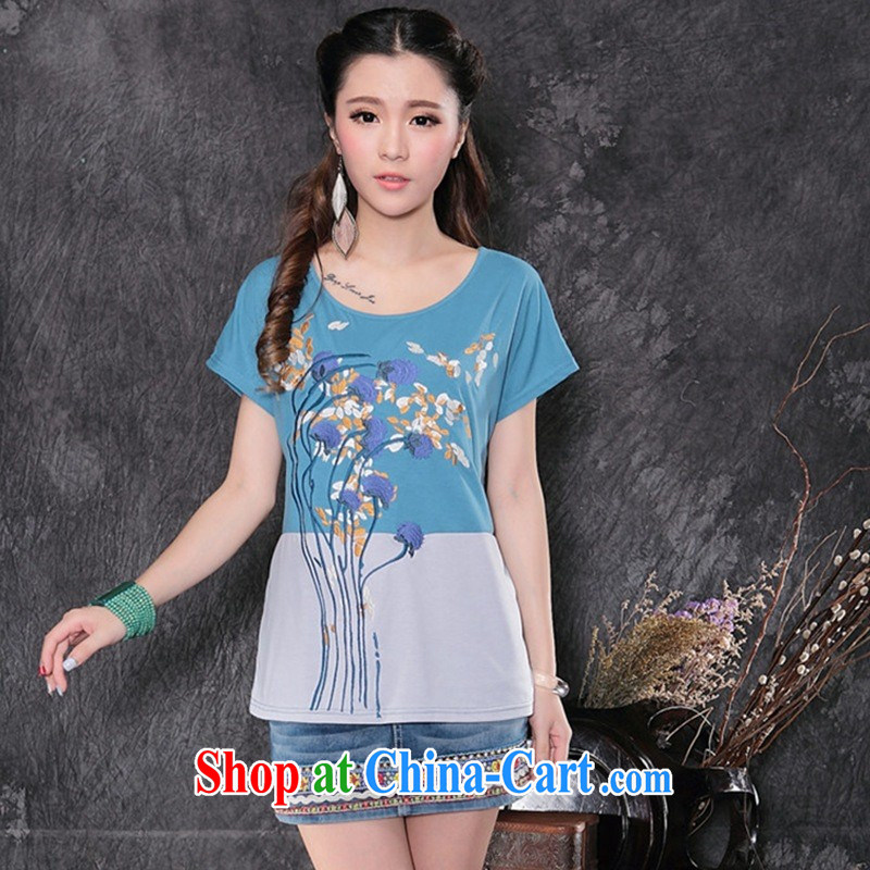 Black butterfly women 2015 spring and summer new ethnic wind embroidered stitching short-sleeved shirt T girls cotton A 162 blue XXL