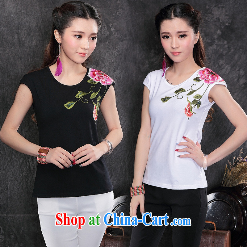 Black butterfly female summer, new Ethnic Wind two-color front and back embroidered female short-sleeved T shirts cotton A 153 white XXL