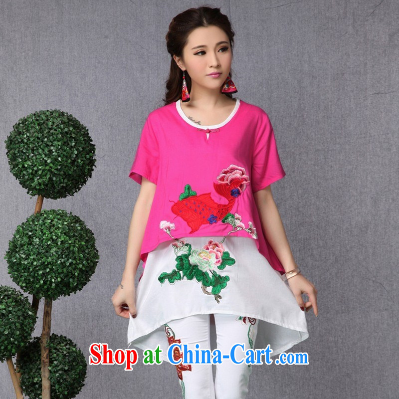 Black butterfly female spring and summer new ethnic wind embroidered asymmetric, long leave of two cotton Ma T shirts of red are code