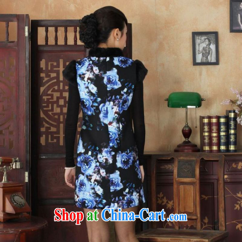 The frequency response, Ms. Tang cheongsam with improved winter dresses, for the waist dress dresses Y 0028 Map Color 2 XL