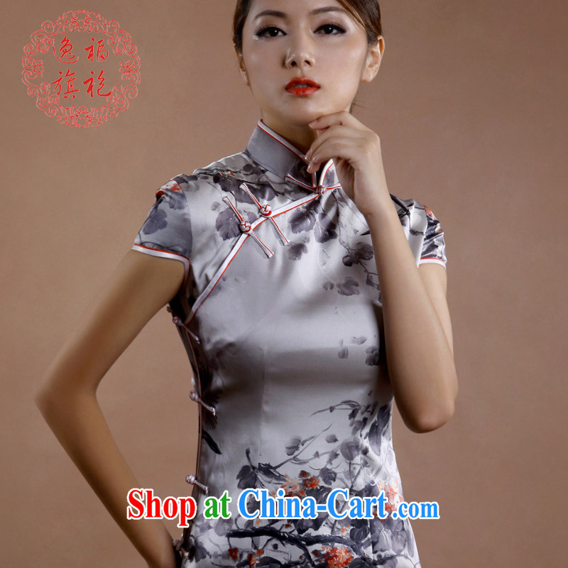 once and for all high-made qipao qipao summer sauna silk Silk Cheongsam ink short dresses, Retro light gray tailored 10 day shipping