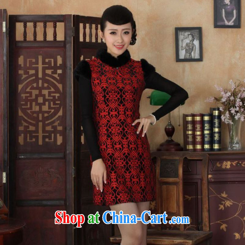 The frequency response, Ms. Tang cheongsam with improved winter dresses, for wool and lace-up waist dress dresses Y 0024 Map Color 2 XL