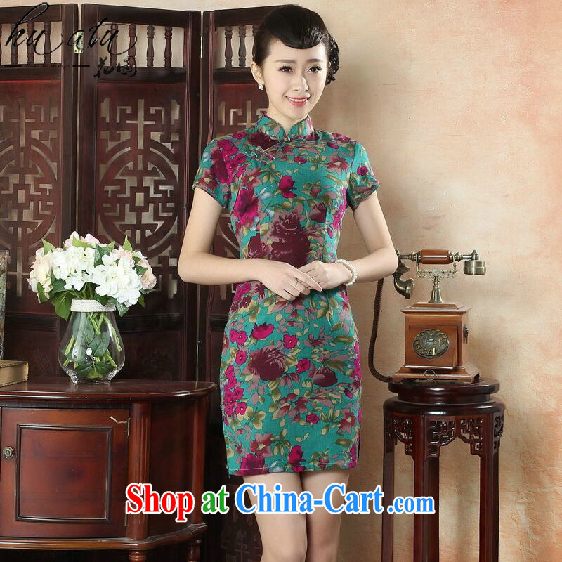 spend the summer new cheongsam dress Chinese Chinese improved the collar linen cotton the cheongsam stylish short dresses such as the color 2 XL
