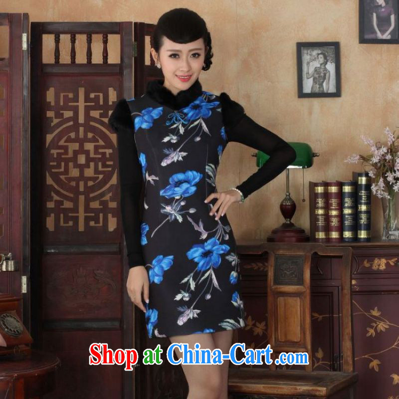 The frequency response, Ms. Tang cheongsam with improved winter dresses, for the waist dress dresses picture color 2 XL