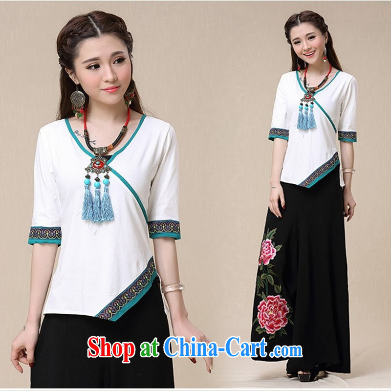 Black butterfly women 2015 spring and summer new ethnic wind embroidery does not rule the cuff cotton T pension 9957 m White 2XL