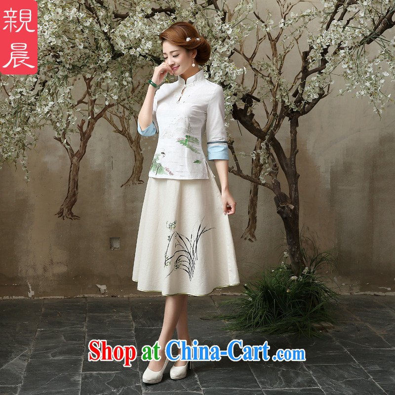 pro-am 2015 New Spring Summer retro improved stylish short cotton the dresses in Ms. cuff cheongsam shirt A in 0060 sleeved shirt + skirt M - waist 76 CM