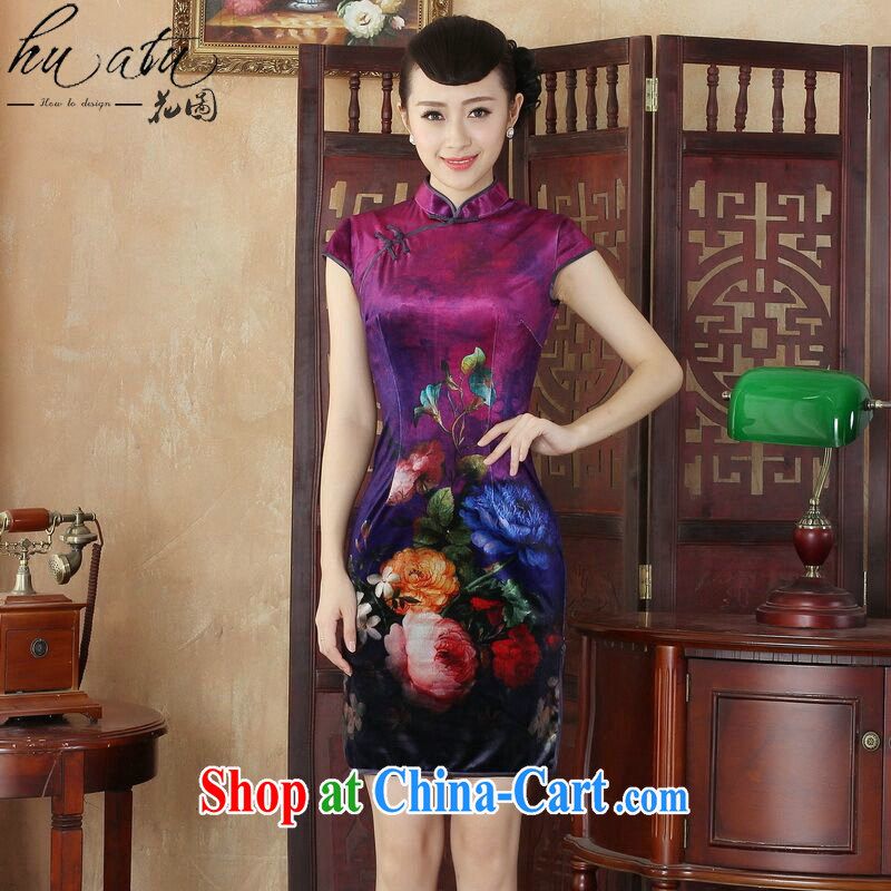 Spend the day cheongsam dress summer new Chinese improved hand-painted high quality gold velour fashion cheongsam beauty short dresses such as the color 2 XL