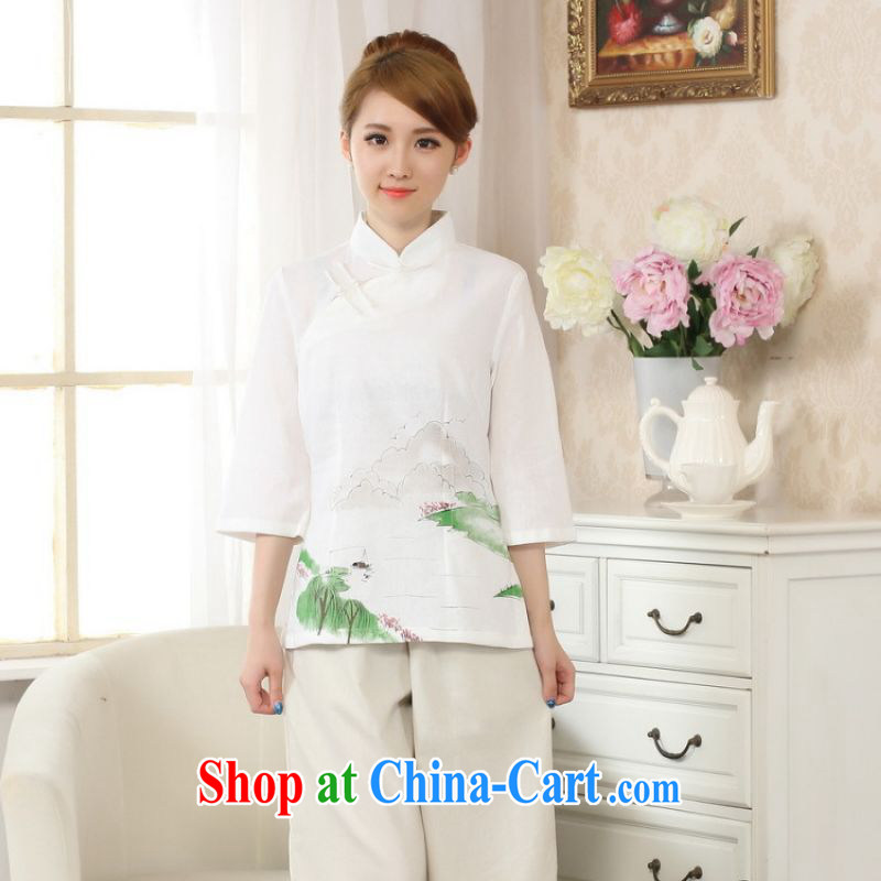 The bandwidth, Tang Women's clothes summer wear T-shirt, cotton for the hand-painted Chinese Han-female improved Tang replace cuff in white 2XL