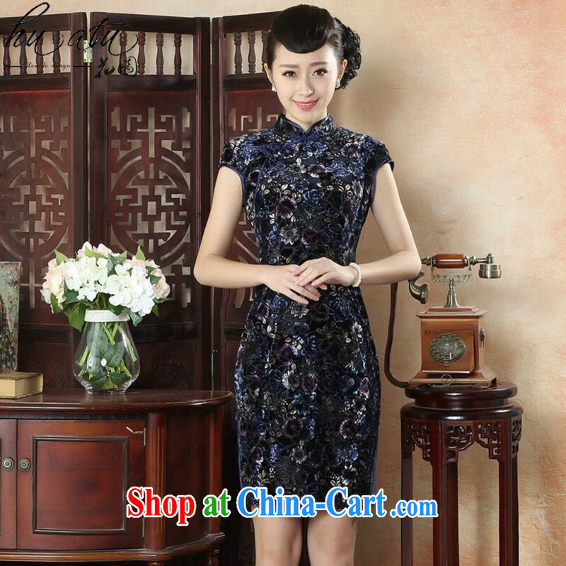 Take the new female cheongsam Chinese Chinese, for the velvet cheongsam Beauty Fashion improved daily short cheongsam dress No. 1 color XL