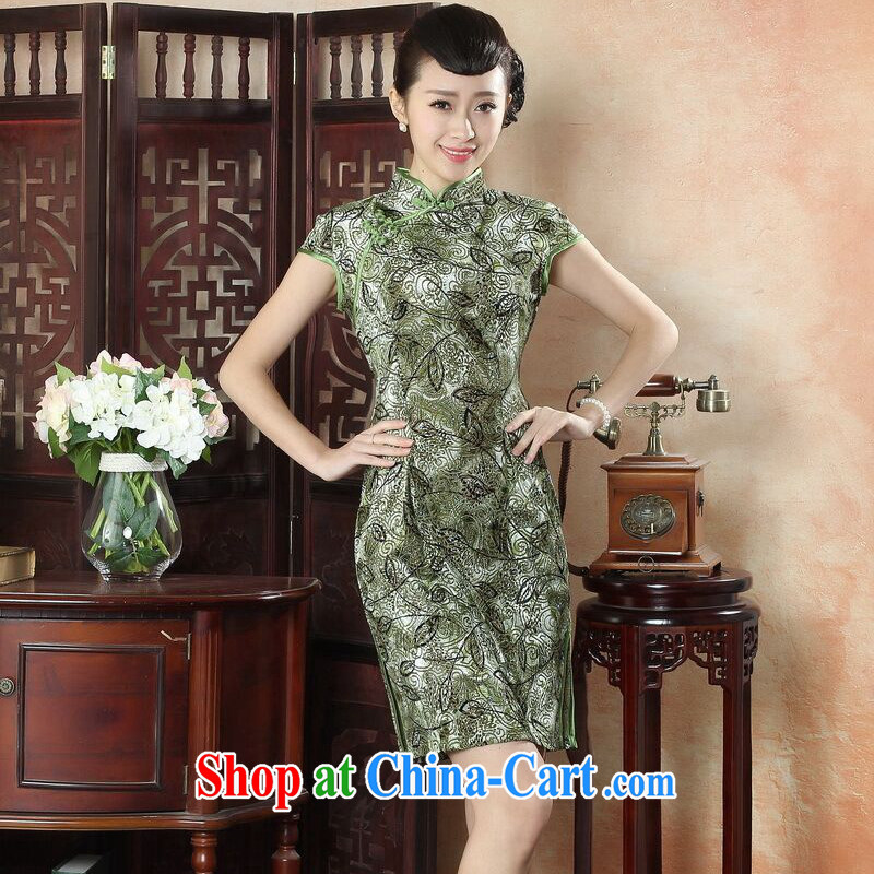Bin Laden smoke-free New female cheongsam Chinese Chinese, for the velvet cheongsam Beauty Fashion improved daily short cheongsam dress 3 color 2 XL