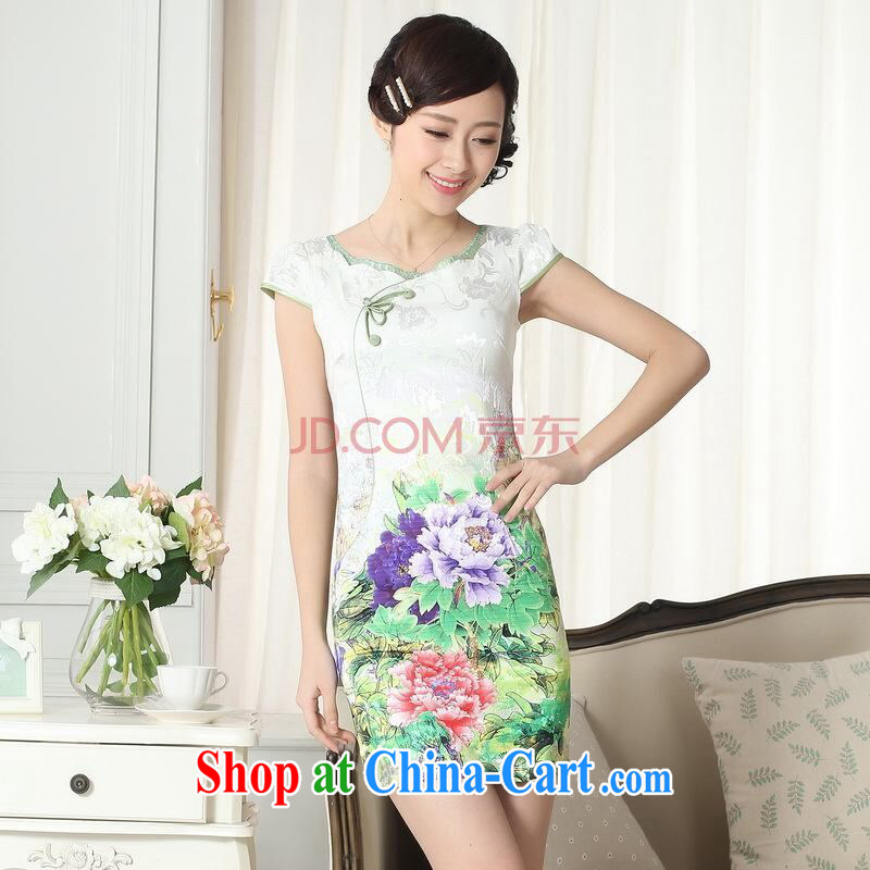 Joseph's new summer elegance Chinese qipao improved graphics thin short cheongsam picture color 3XL