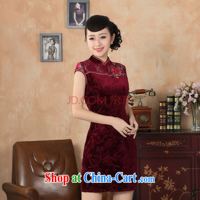 Joseph cotton summer new female lace cheongsam dress improved daily thin embroidered cheongsam picture color XXL