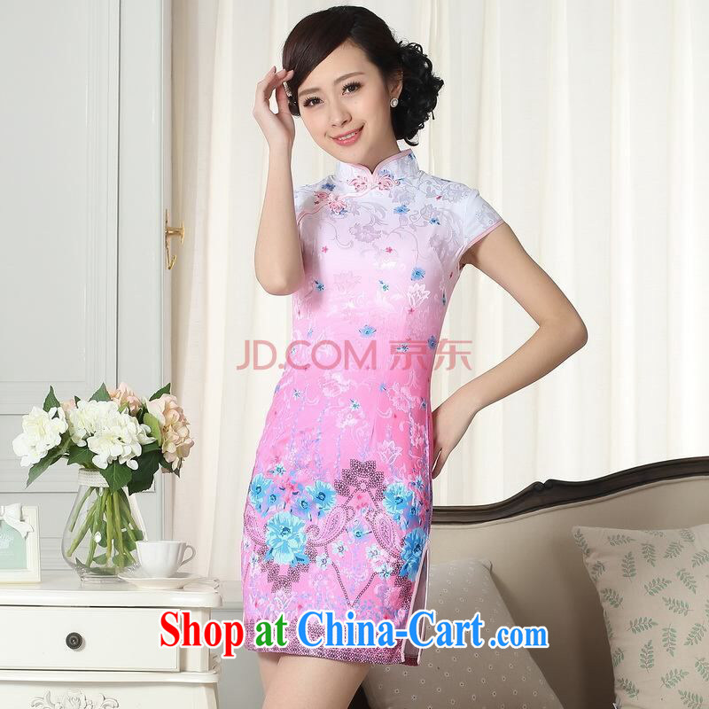 Joseph cotton factory direct lady stylish jacquard cotton cultivating short cheongsam dress new Chinese qipao gown picture color XXL