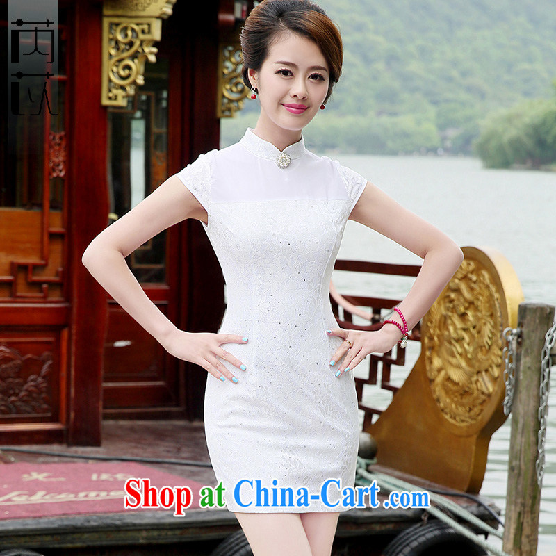Rawnie for 2014 would be a solid color and elegant sexy beauty short cheongsam package and short-sleeved style cheongsam dress white XXL