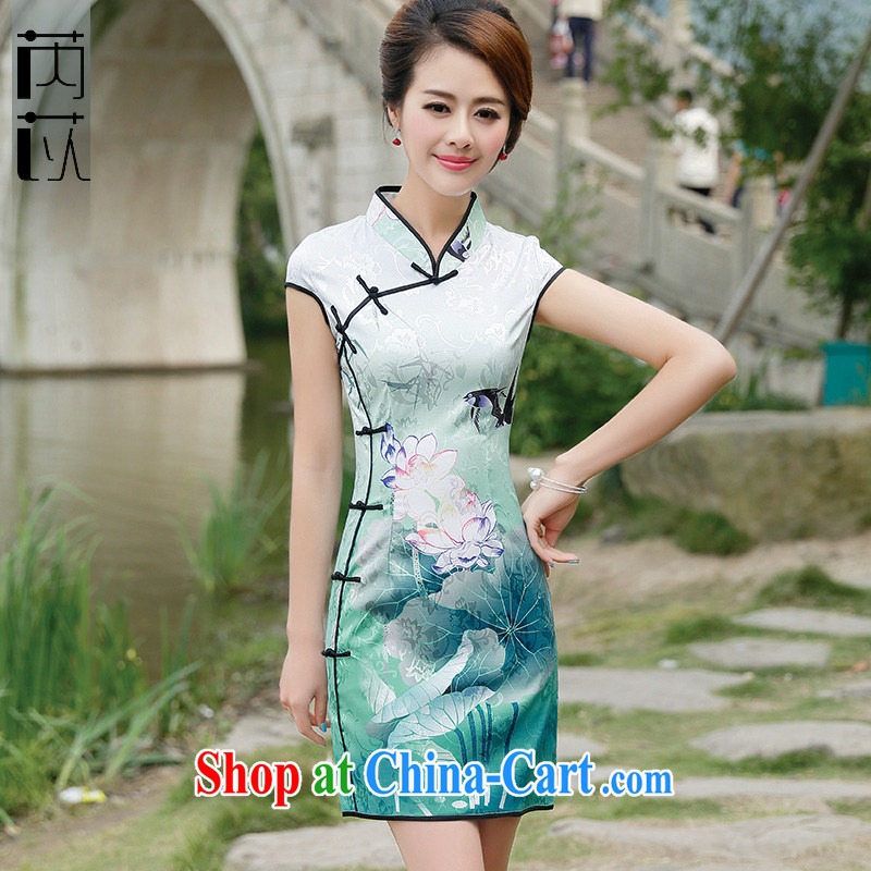 Rawnie close by summer 2015 new retro cheongsam dress, improved and stylish beauty cheongsam dress short Black Lotus XXL