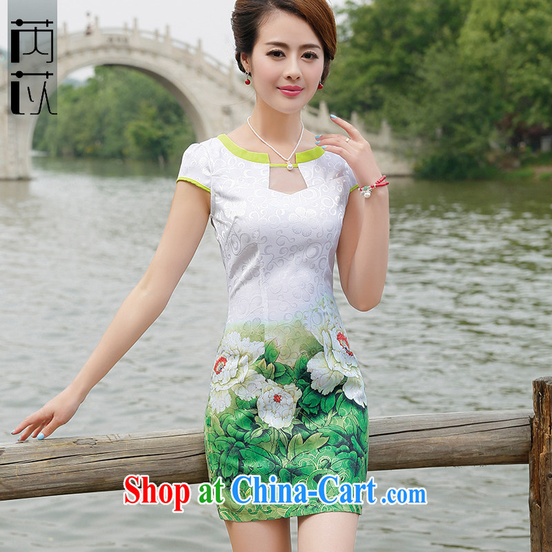 Rawnie close by summer 2015 improved female cheongsam dress fashion style retro beauty, Lady dresses green peony flower XXL