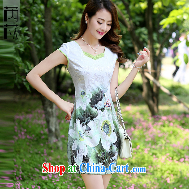 Rawnie closely affected 2015 spring dresses for parties and elegant daily short-sleeved dresses retro dresses cheongsam dress Green lotus XL
