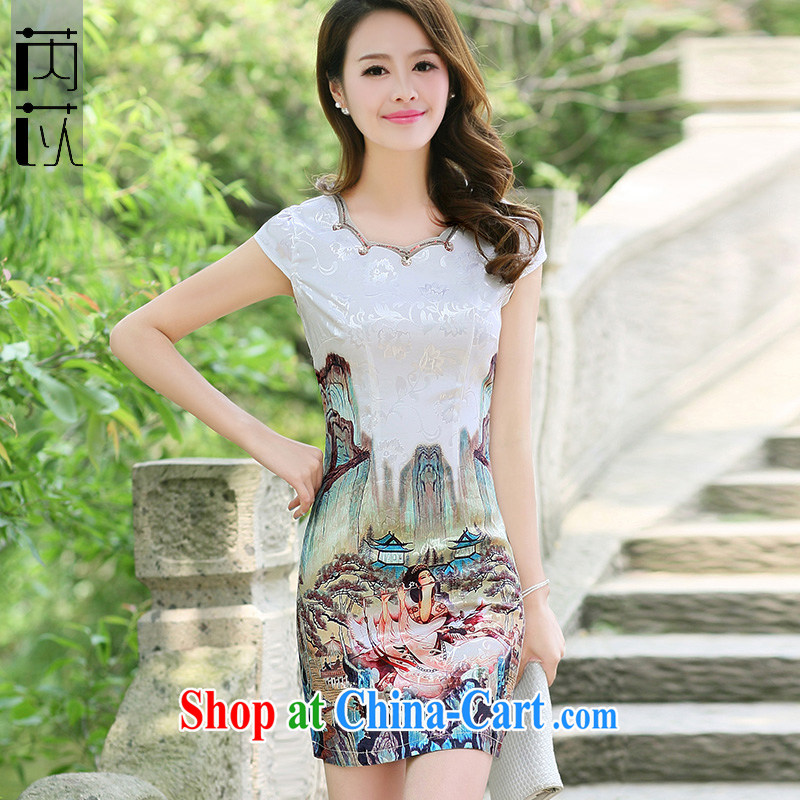 Rawnie closely affected summer short cheongsam stylish improved daily cheongsam dress, graphics thin elegant and noble short flag gold beauty XXL
