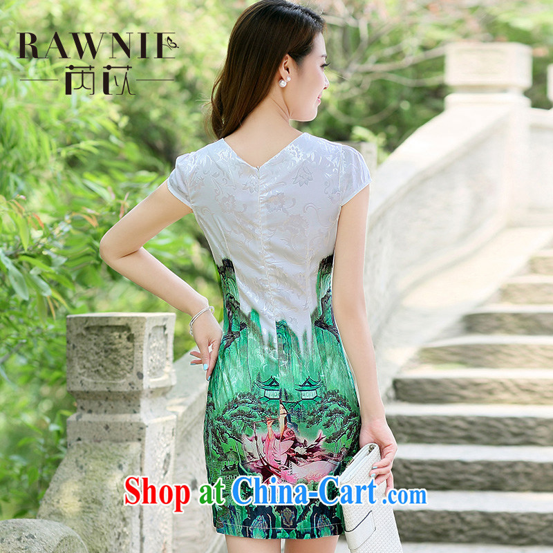 Rawnie closely affected summer short dresses and stylish improved daily cheongsam dress, graphics thin and elegant and noble short flag gold beauty XXL, close by (Rawnie), online shopping
