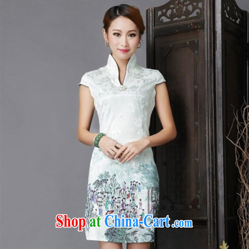 Black butterfly Ethnic Wind 2015 new stylish and improved cheongsam sexy beauty short-sleeved qipao girl light green XL