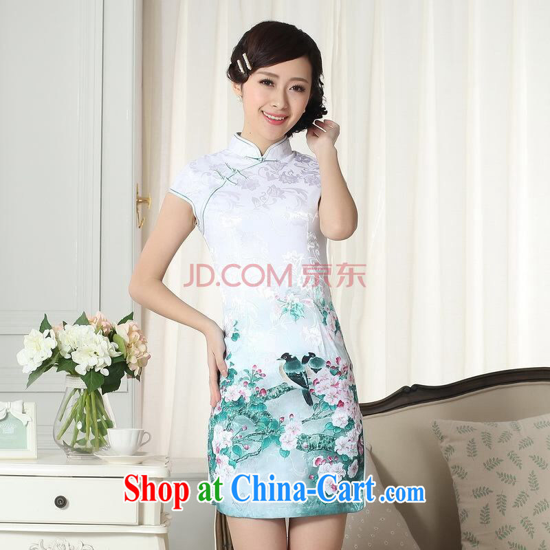 Joseph cotton lady stylish jacquard cotton cultivating short cheongsam dress new Chinese qipao gown picture color XXL