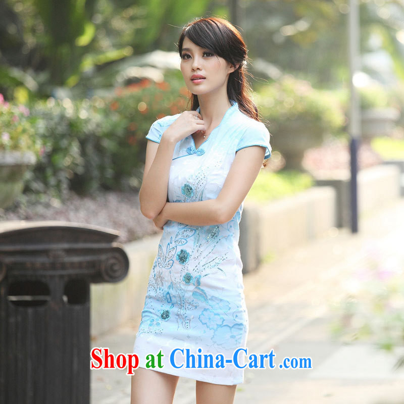 Black butterfly national style in a new, improved and Stylish retro dresses 2015, collar embroidered on the cheongsam dress blue XL