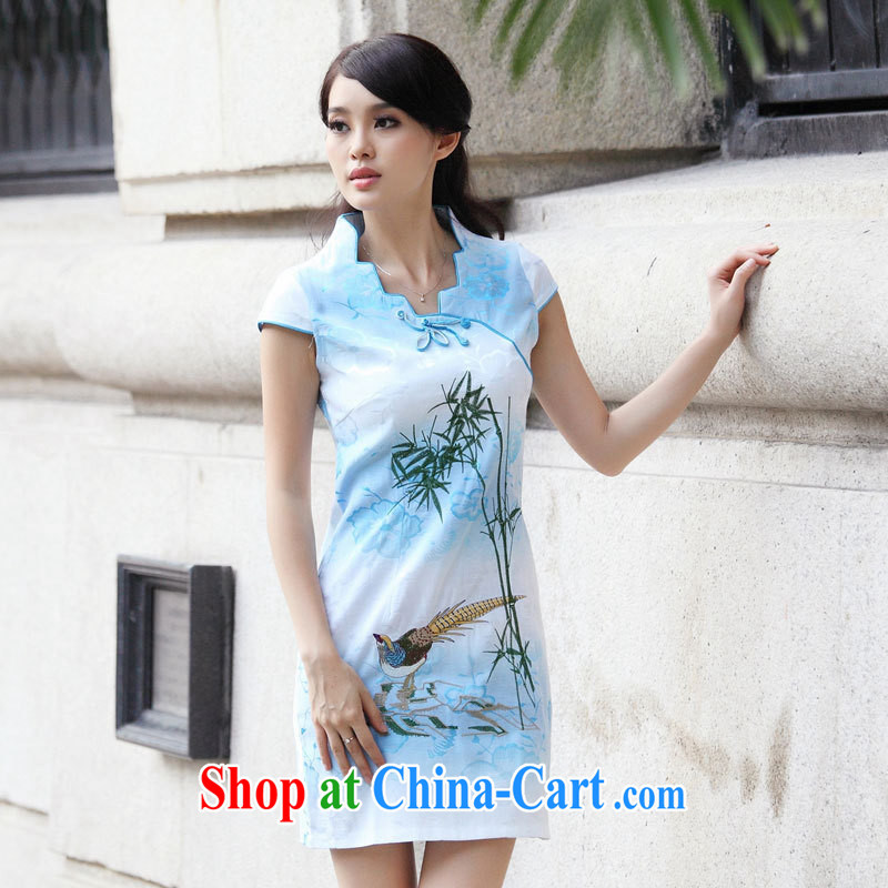Black butterfly national style in a new, female short-sleeved improved cheongsam stylish beauty, for graphics thin cheongsam dress pink XL