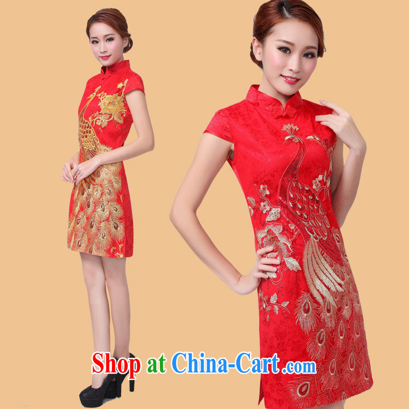 Black butterfly 2015 new festive retro improved cheongsam Peacock embroidery cheongsam decorated women in cheongsam dress red Peacock XL