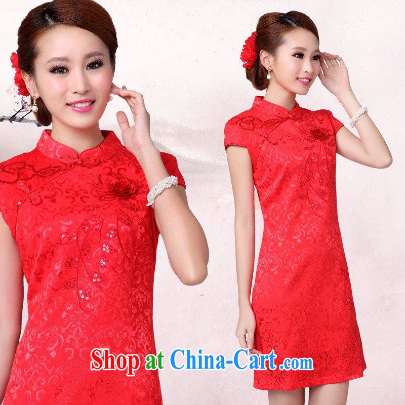 Black butterfly 2015 new summer wear red wedding dress short-sleeved dresses beauty, girls improved cheongsam red XL