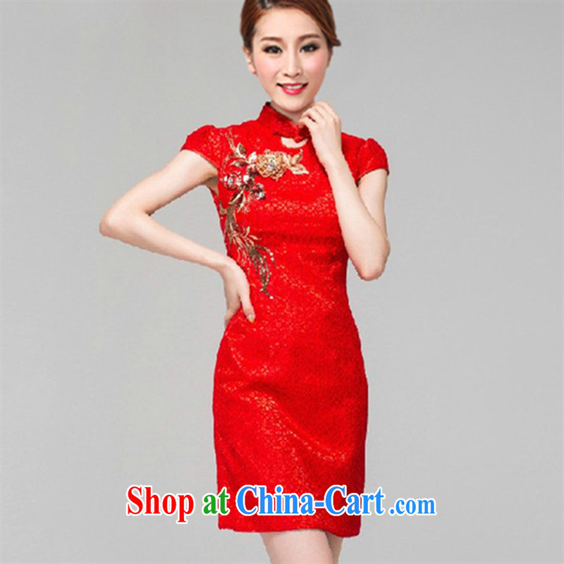 Black butterfly 2015 new female embroidery improved cheongsam beauty short sleeve cheongsam dress festive cheongsam dress red XL