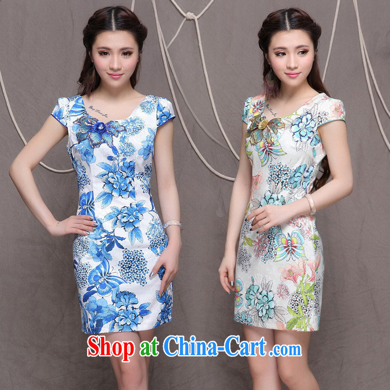 Black butterfly Ethnic Wind and stylish embroidered Chinese cultivating improved cheongsam new graphics thin short-sleeved qipao dresses 6076 blue blue XXL