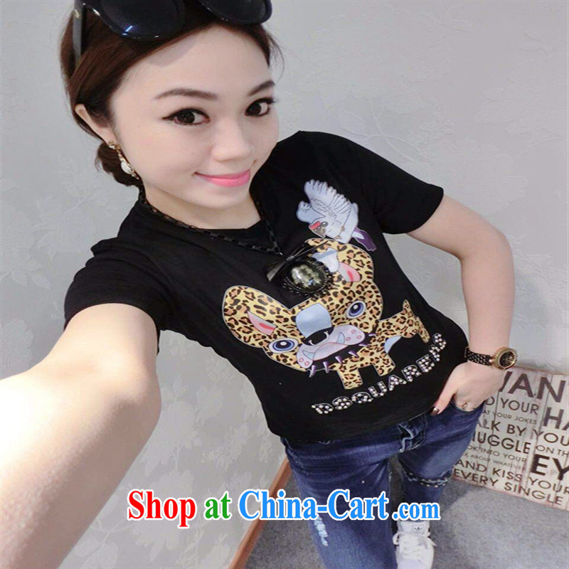 hamilton 2015 European site spring and summer with new stylish cute cartoon small Leopard nails Pearl cotton 100 ground T pension gray are code