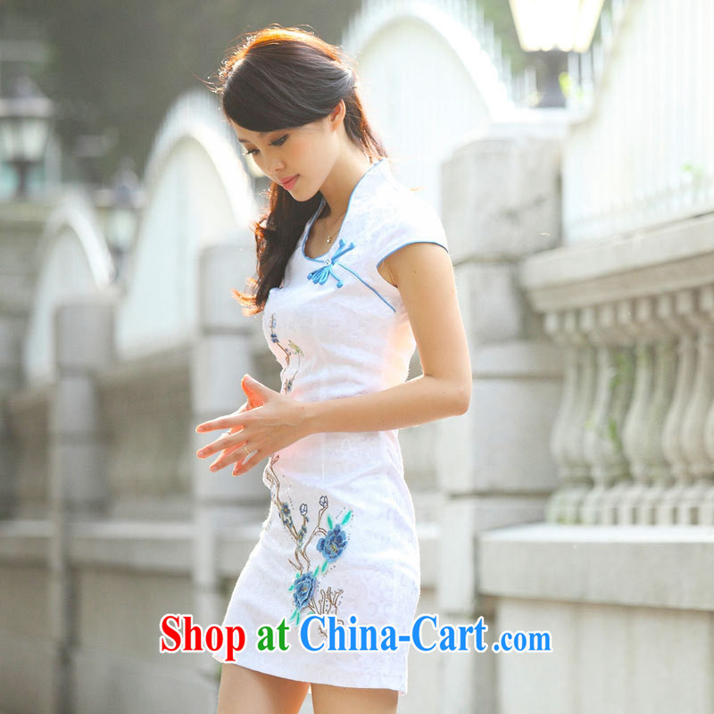 Black butterfly Ethnic Wind new cheongsam dress improved cheongsam Chinese elegant and stylish ladies dresses blue XL