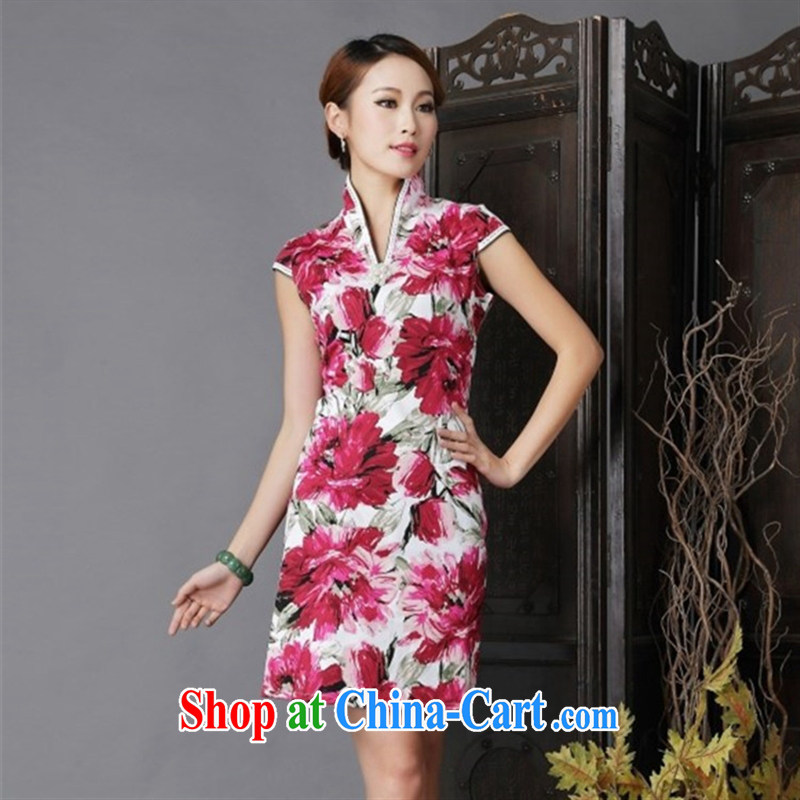 Black butterfly Ethnic Wind 2015 New floral cheongsam dress stylish improved Chinese short sleeves cheongsam floral XL