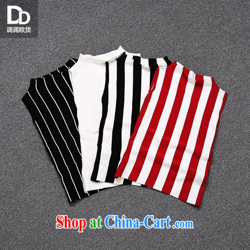 Health concerns women * Adjust a new female summer sweet knitting solid ground 100 striped light shirt vest female T 3052 red and white are code