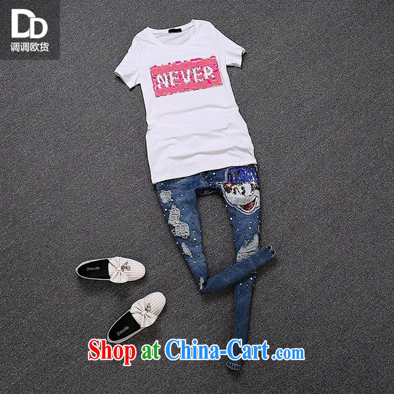 For health concerns women _ European adjust a female new small fresh sweet beauty Pearl inserts drill with round collar T-shirt short-sleeve female T 3053 white are code