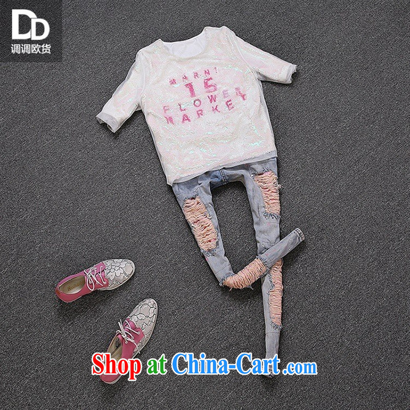 Health concerns women _ spring loaded the European site female new T pension in Europe and trendy, stitching yarn Web T-shirts cuffs female T 3048 pink and white are code