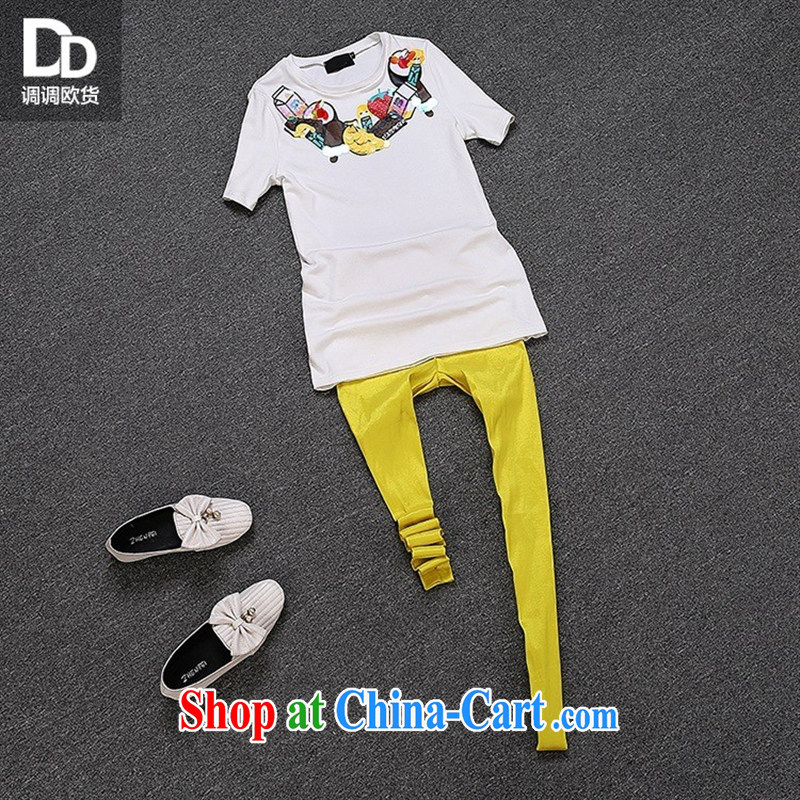 For health concerns women _ Adjust the European site summer stamp female fresh sweet wood drill candy Week, fall short-sleeved T-shirt T 3042 white L