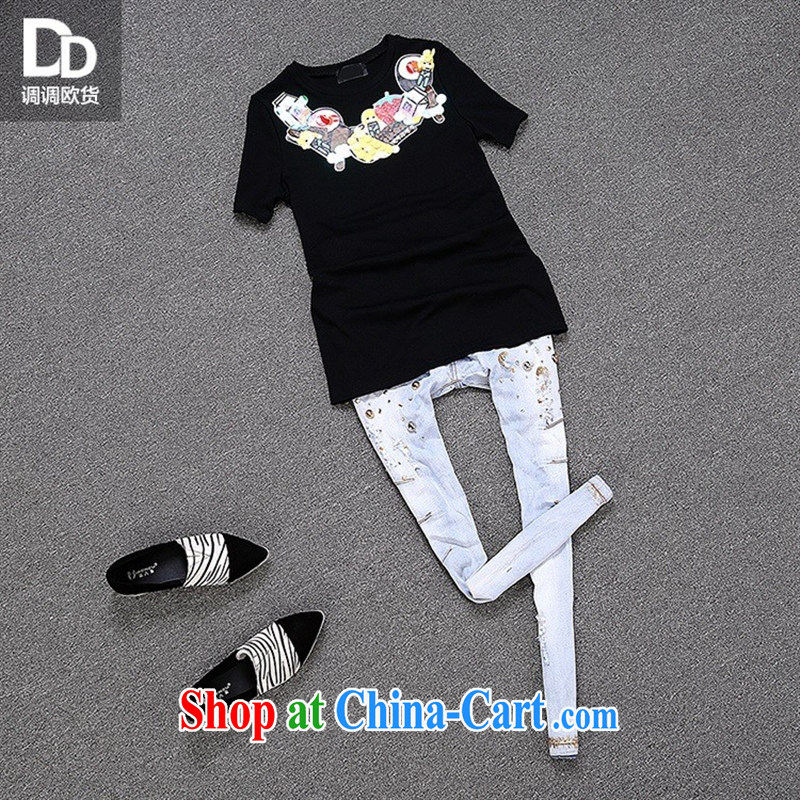 Health concerns women * Adjust the European site summer stamp female fresh sweet wood drill candy week fall, short-sleeved T-shirt T 3042 white L, blue rain bow, and shopping on the Internet