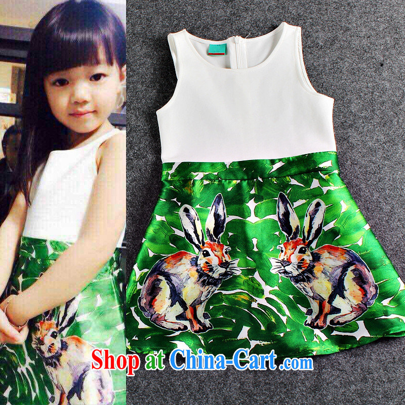 Spring 2015, Female European site Rome children's wear cotton Ink spray painting Rabbit-sleeved vest skirt parent-child costumes picture color L