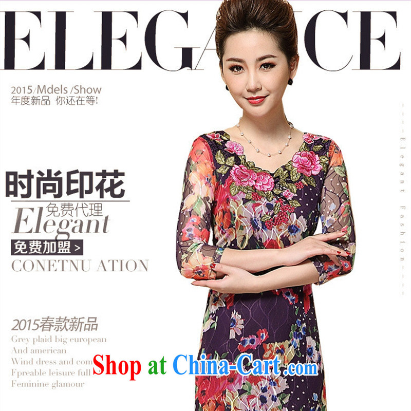 Close deals with women in Europe and America _ 2015 spring and summer, the older the Code women Lace Embroidery burglary, wholesale generation, dresses picture color XXXL