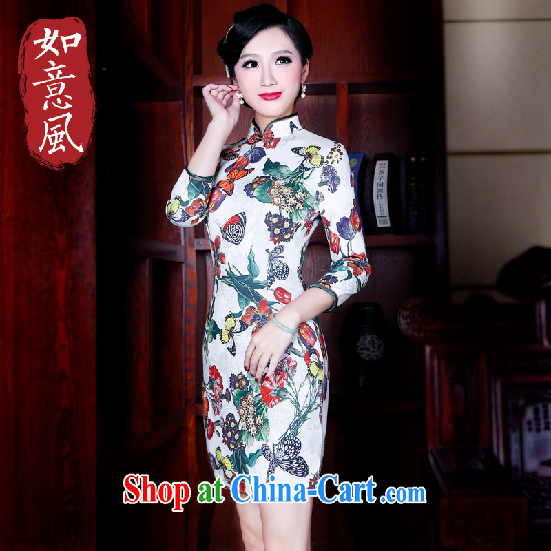 Unwind after the 2015 China wind stamp duty cuff in cheongsam dress Stylish retro spring dresses women 5203 fancy M