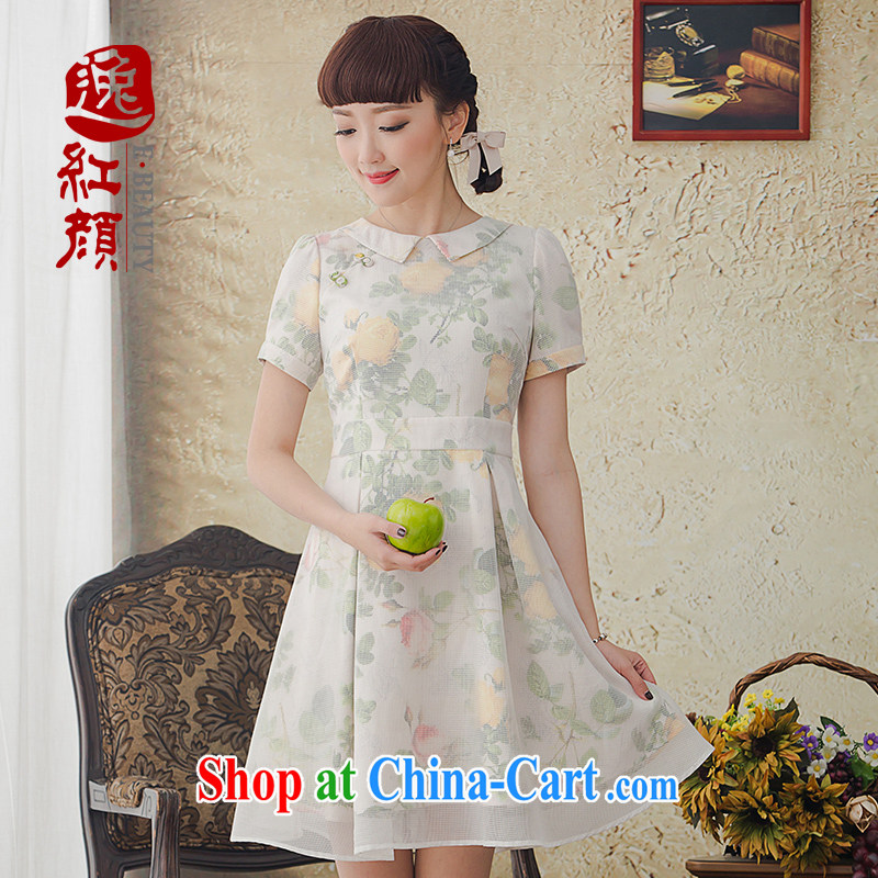 once and for all and hazy proverbial hero Park 2015 New National wind arts stamp duty dress spring and summer retro dress skirt Bluetooth color 2 XL