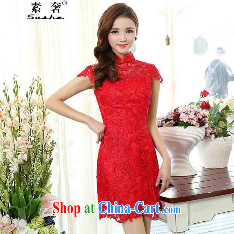 luxury of 2015 spring dresses bridal dresses serving toast stylish red lace ceremonial service back to the betrothal service women, lace dresses red 3XL