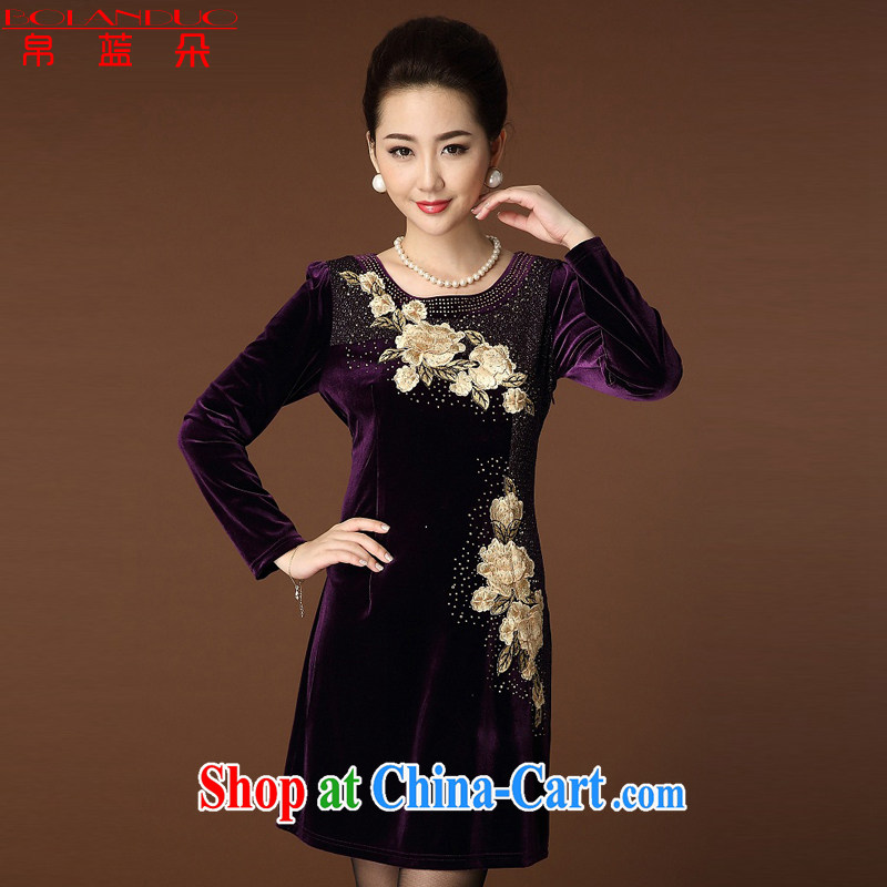Kingfisher blue Flower Spring 2015 new, middle-aged and older embroidery, wool-yi skirt the code long-sleeved high middle-aged female Tang inserts drill cheongsam dress purple XXXXXXL