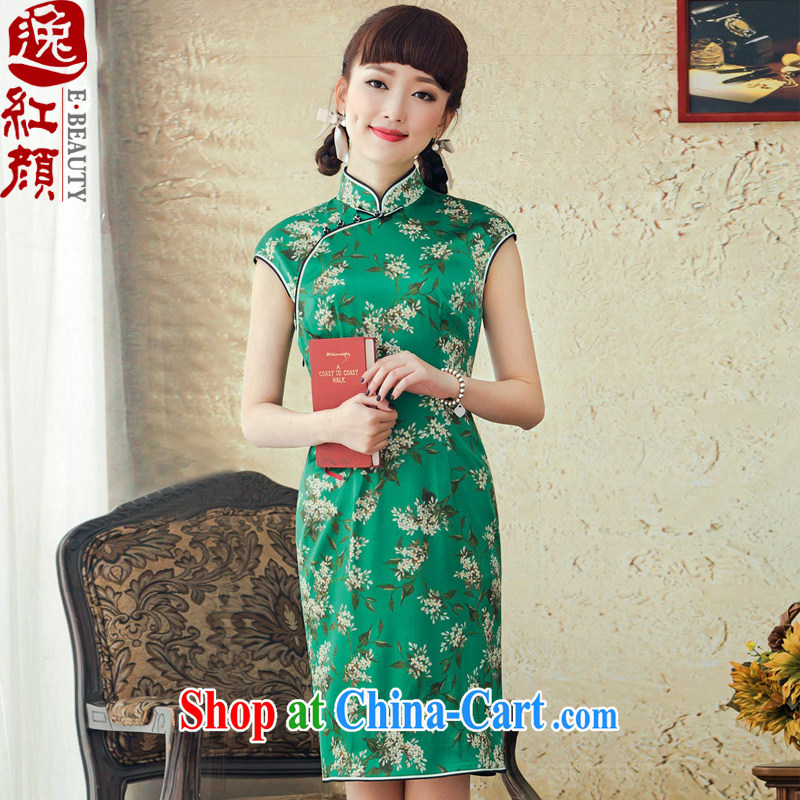 proverbial hero once and for all summer flowers silk short cheongsam dress improved stylish 2015 spring and summer new sexy cheongsam dress green 2 XL March 25 future library