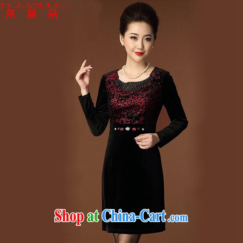 Kingfisher blue Flower Spring 2015 winter new Leopard style XL MOM load the velvet dress Chinese wine red XXXXL