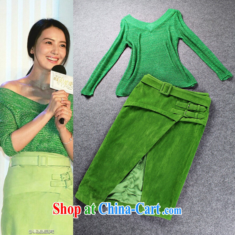 2015 spring European high-end female stars with V collar green knitted T-shirt matte the forklift truck leisure Kit skirt green L